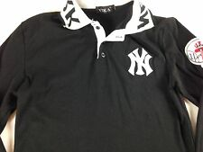New York Yankees Shirt Long Sleeve Polo Womens Small MLB Baseball Patch Collar