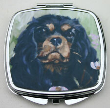 CAVALIER KING CHARLES SPANIEL DOG BLACK TAN COMPACT MIRROR OIL PAINTING PRINT