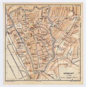 1910 ANTIQUE CITY MAP OF UTRECHT / HOLLAND NETHERLANDS