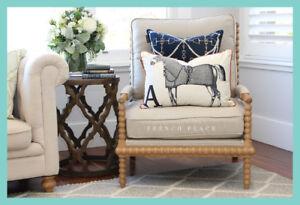 *In Stock!* NEW Hamptons Style Bobbin Armchair solid oak frame beige linen