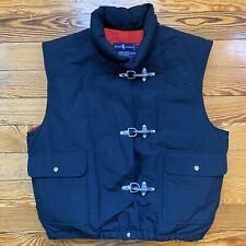 80s Vintage Polo Ralph Lauren Large Black Pockets Down Vest Fireman Toggle Hooks