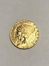 1929 US 2 1/2 Dollar Quarter Eagle Gold Coin $2.50 Indian AU/BU Higher Grade