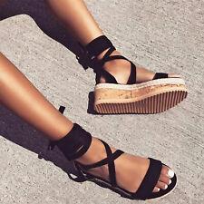Scarpe donna sandali zeppa schiava fondo corda espadrillas lacci TOOCOOL R6M6313