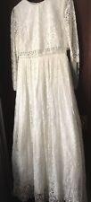 Asos Long Lace Ivory Wedding Dress Size 14