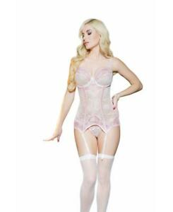 New Coquette 7057 Lace Bustier With Garters