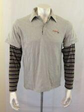 RedSand Men's Striped Long Sleeve Gray Cotton Polo Shirt Size Medium