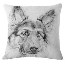"""Dog 18"""" Vintage Cotton Linen Pillow Case Sofa Throw Cushion Cover Home Decor"""
