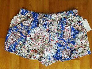 New BEBOP Junior's Large Multicolor Paisley Print Drawstring Side Pockets Shorts