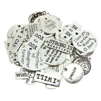 31PCS Inspiration Word Charms Antique Silver Word Letters Text Pendants Tags