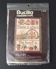"""NOS Vtg Bucilla Needlecraft Cross Stitch Sampler Kit 48723 """"Home is..."""" 12 x 16"""""""