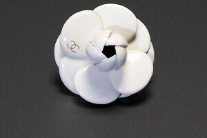 CHANEL Paris Spring 2002 Gold Plated White Enamel CC Camellia Flower Brooch