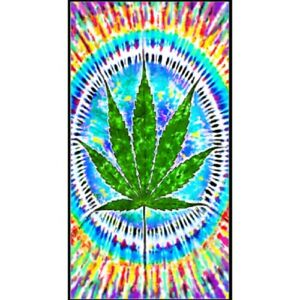 Oversized Pot Leaf Tie Dye New Bath Beach Pool Gift Towel Marijuana Smoke Weed