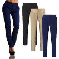 Women's High Waist Lounge OL Work Straight Leg Long Pants Ladies Pencil Trousers