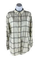 H&M Woman's Size 8 Shirt Blouse White and Gray Striped Long Sleeve Button Down