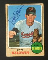 Dave Baldwin Senators signed 1968 Topps baseball card #231 Auto Autograph 1