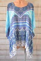 Beme Top Kaftan Blouse Size Plus Small Medium Blue White Paisley