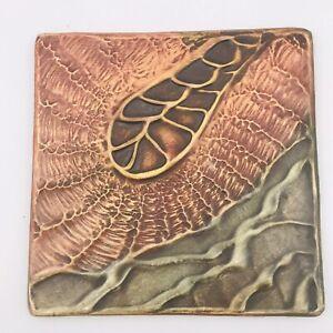 "Russell Wrankle Art Studio Toquerville Utah Hand Made 3D Ceramic Tile 6"" x 6"""