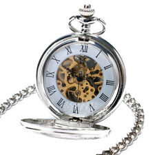 Handwinding Mechanical Pocket Watch Chain Elegant Hollow Roman Number Double