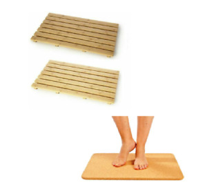 Natural Wood Bamboo Wooden Duck Board Rectangular Bathroom Bath Cork Shower Mat