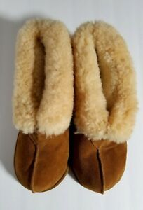 Mens Sheepskin Slippers Soft Sole Size 13-14