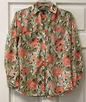 Talbots Womens Sp V Neck Button Down Long Sleeve Multi Floral Blouse Shirt Top