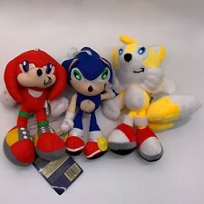 """3X Sonic the Hedgehog Plush Knuckles the Echidna Tails The Fox Soft Toy Doll 9"""""""