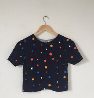 Ted Baker Women Top Size 0 (UK 6) Navy Blue Short Sleeve Polka Spotted Crop Top