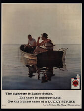 1959 2 Men Fishing Smoke LUCKY STRIKE Cigarettes - Fish - Boat - VINTAGE AD