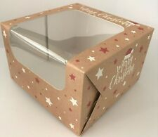 CHRISTMAS CAKE BOXES  FESTIVE Square with clear Window 8 INCH, 7 INCH