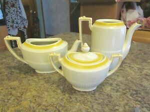 Vintage Old Ridways Ivory - yellow and white lot sugar creamer pot - PEK