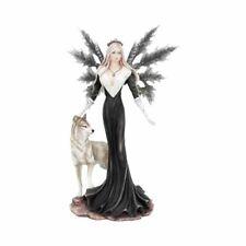 More details for nemesis now dark aura fairy with wolf companion figurine d4509n9 24cm