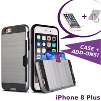 iPhone 8 PLUS Shockproof Credit Card Case Cover add Tempered Glass or Ring Stand