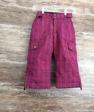 Land's End Girls Snowboard Ski Pants sz 4 Cargo Pockets Berry Plaid