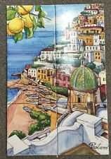 Vietri Pottery-23,3/4x15,3/4,set Of 6 Tiles Positano.Made/Painted by hand-Italy