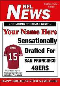 A5 Personalised San Francisco 49ers NFL American Football Birthday Card PIDOA1