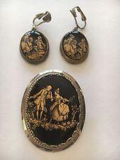 Vintage Black/Gold Victorian Couple Brooch Pin & Earrings
