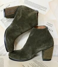 Calleen Cordera Studded Boots olive Suede Studded Heel Ankle 7 NEW