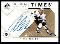 2019-20 UD SP Authentic 2018-19 Update Sign of the Times Auto SOTT-TM Timo Meier