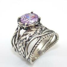 Shablool Didae Israel Sterling Silver Wide Purple Amethyst Ring Size 8