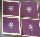 """4 x Antique Needlepoint Tapestry Chair Seat Covers Burgundy Floral 16"""" x 18"""""""