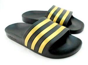 New ADIDAS Adilette Aqua Size 10 Black with Gold Logo Men's Comfort Slide Sandal