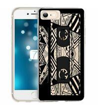 Coque Iphone 7 PLUS 8 PLUS cassette K7 tape geometrique noir transparente