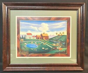 Vintage D. Lacey Derstine Folk Art Painting Print 1993 New England Countryside