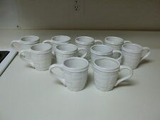 Home Interiors Basket Weave ~ Set of 10 Cups Mugs ~ White Stoneware