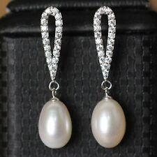 Boucles d'Oreilles Clous Perle de Culture Blanche Argent Massive 925 Ovale Fin