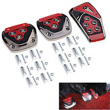 Red 3 Pcs Car Fit's Manual Transmission Yellow Flames Foot Pedals Pads Covers