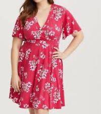 e697f82fdc8 Torrid Raspberry Floral Jersey Knit Faux Wrap Dress 1x 14 16  23424