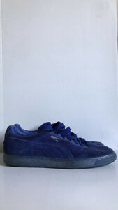 Mens PUMA Suede Classic Blue Trainers With Silver Logo Size UK 9/EUR 43