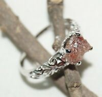 natural red rough diamond ring raw uncut diamond wedding ring 925 silver NR 11