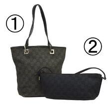 Auth GUCCI GG Hand Shoulder Bag 2 Set Black Gray Canvas Leather Vintage B31878